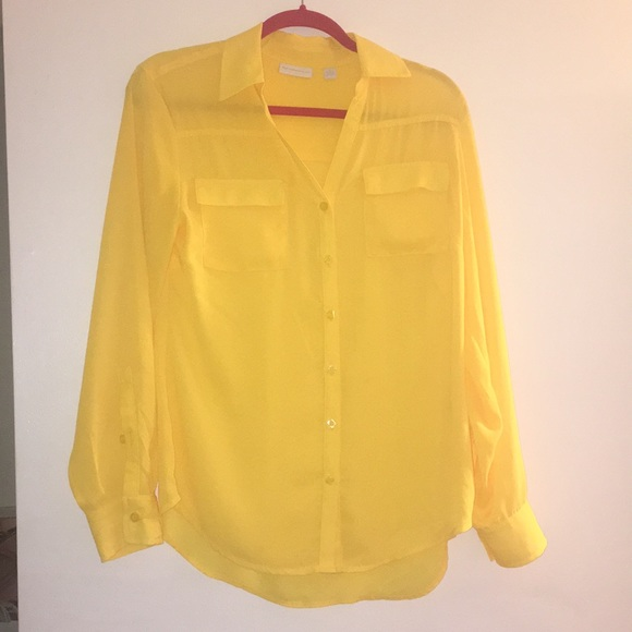 New York & Company - New York& company yellow button down shirt ...